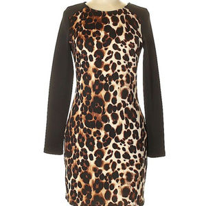 bebe leopard longsleeve brown black dress M